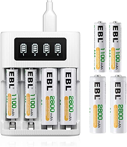 EBL AA AAA Rechargeable Battery Charger 4 Slots LCD Battery Charger for AA AAA Rechargeable Batteries with Micro USB Input - 2800mAh AA x 4, 1100mAh AAA x 4 Rechargeable Batteries