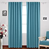 Tab Curtains Deconovo Solid Drapes and Curtains Back Tab and Rod Pocket Curtains Insulated Thermal Room Darkening Drapes for Girls Room 52x84 Inch Teal 1 Pair