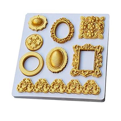 1 piece Jewelry Fimo Frame Fondant Cake Mold Cupcake Mould Border Diamond Unicorn Confeitaria Molde De