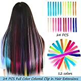 24 PCS Straight Colored Clip in Hair Extensions Multiple Colors Party Highlights Fashion Hairpieces Heat-Resistant Synthetic Hair Extensions(24PCS 12Color)