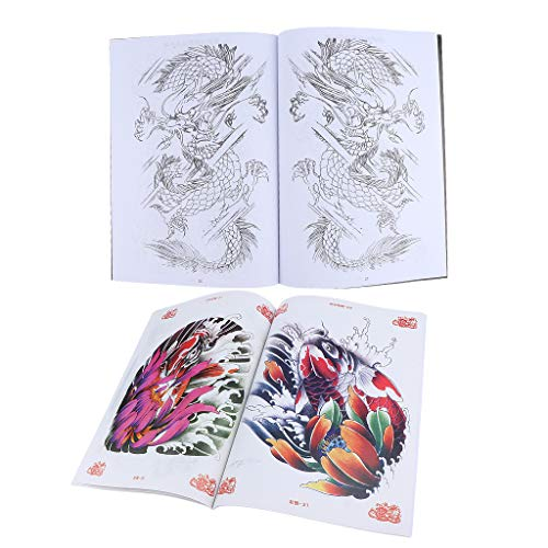 China Style Carp and Dragon Painting Drawing Tattoo Flash Sketch References Books Sets 2pcs