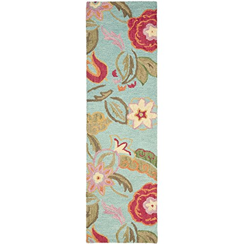 lection BLM675A Handmade Blue and Multi Premium Wool Runner (2'3