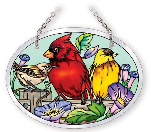 Amia 41055 Hand Painted Beveled Glass 4-3/4 by 3-1/2-Inch Oval Sun Catcher, Multiple Birds on Rail Design, -