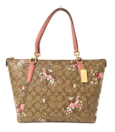 - Coach 30247 AVA Tote Floral Logo Print Tote Bag Handbag - Khaki Multi