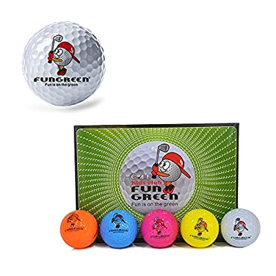 FUNGREEN 2 Layers Multi-Colored Practice Golf Balls Funny Training Sports Ball for Kids Playing Golf,12 pcs/set