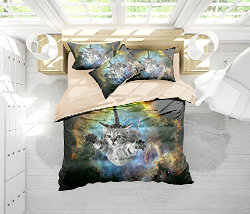 FAITOVE Galaxy Cat Microfiber 3pc 80''x90'' Bedding Quilt Duvet Cover Sets 2 Pillow Cases Full Size by FAITOVE