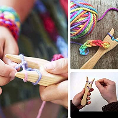 Knitting Fork Knitting Fork Wooden and Big Eye Needle Set Wood Cord Making Hand Cut Lucet Fork DIY Weaving Tools for Bracelet Necklace Braided Tools