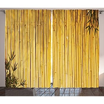 Amazon Com Ambesonne Green Curtains Nature Decor By
