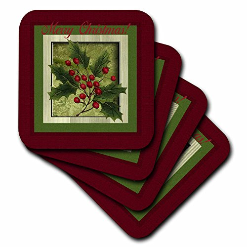 3dRose cst_108377_3 Holly Berry Branch, Merry Christmas-Ceramic Tile Coasters, Set of 4