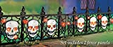 Set of 2 Lighted Halloween Skull Pathway Fence Border Gate Panel Halloween Decor Fall Autumn Spooky Scary Haunted House Prop Decoration