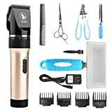 Ceenwes Pet Clippers Low Noise Professional Dog Clippers Rechargeable Cordless Pet Clipper Trimmers Pet Hair Grooming Kit with Slicker Brush for Cats Dogs Other HairyAnimals