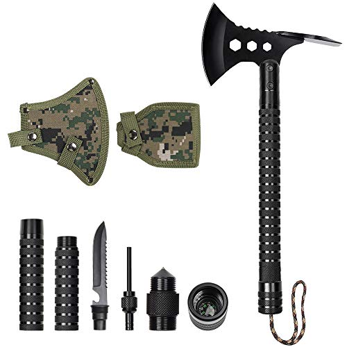 LIANTRAL Camping Stainless Axe with Sheath 18 inch Multitool Tactical Hatchet Shovel for Camping Hiking Hunting Backpacking Emergency Outdoor Adventures Survival Hatchet Portable Folding Axe