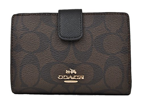 Coach Signature PVC Medium Corner Zip Wallet and Coin Purse F54023 Brown Black by Coach