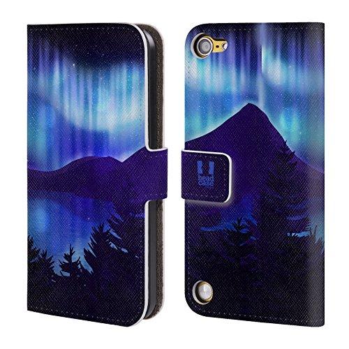 Head Case Designs Vista Sul Lago Blu Luci Del Nord Cover a portafoglio in pelle per iPod Touch 5th Gen / 6th Gen