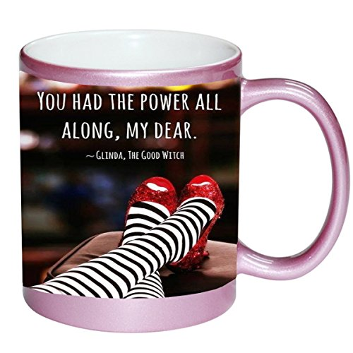 Inspirational Quote Red Slippers Design Print Image PINK 11 ounce Ceramic Coffee Mug Tea Cup by Trendy Accessories ()