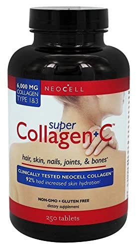 Neocell Super Collagen+C Type 1 and 3 Tablet (6000mg) – Gluten Free, Soy Free, Plus Vitamin C Tablet for Reducing Fine lines. Dietary Supplement