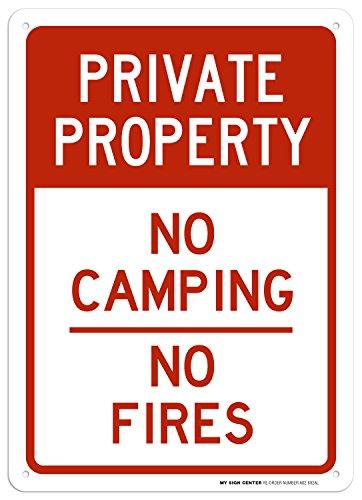 Cartel de propiedad privada sin incendios de camping – 25,4 x 35,56 cm – 040 aluminio inoxidable – fabricado en Estados...
