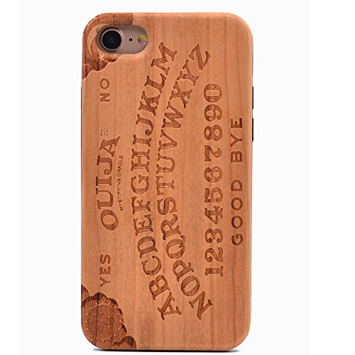 iPhone 7 Wood Case Ouija Board Spooky Handmade Carving Real Wood Case Wooden Case Cover with Soft TPU Back for Apple iPhone 7