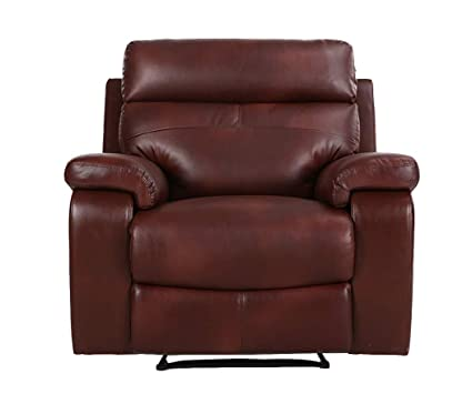 Halter Bonded Leather Recliner Sofa Chair - Modern Reclining Lounge Chair -  Cherry - 2 Pack