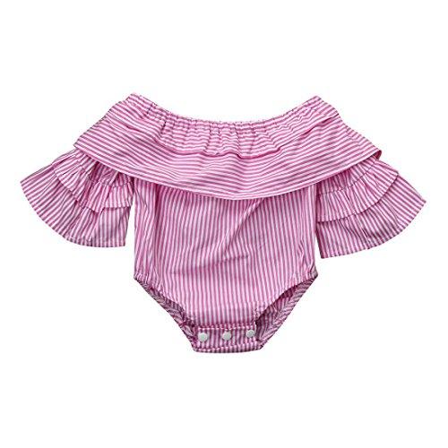 Infants Striped Playsuit (CSSD Baby Infant Girls Off-Shouder Striped Flare Sleeve Jumpsuit Romper Clothes (6M, Pink))