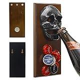 ChasBete Wall Mounted Bottle Opener Magnet for Fridge Skull Cast Iron with Strong Magnetic Cap Catcher Beer Bottles Opener Wall Mount