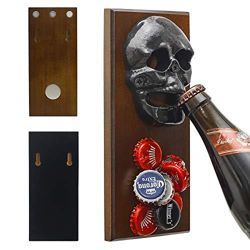Catcher Truck - ChasBete Wall Mounted Bottle Opener Magnet for Fridge Skull Cast Iron with Strong Magnetic Cap Catcher Beer Bottles Opener Wall Mount