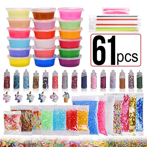 (61 Pack Slime Making Kits Supplies, Crystal Slime,Foam Balls,Glitter Jars, Animal Toys, Fishbowl Beads,Fruit Slices, Slime Tools, Straws)