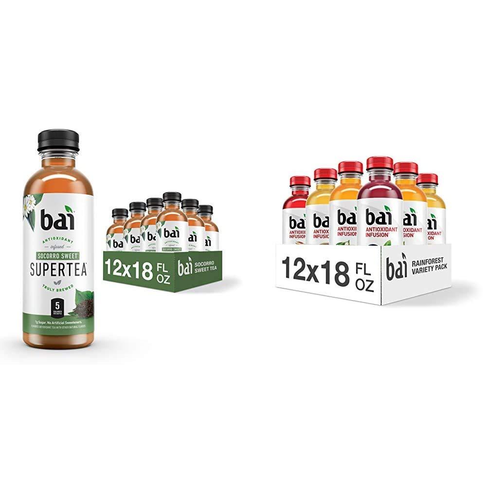 Bai Iced Tea, Socorro Sweet, Antioxidant Infused Supertea, 18 Fluid Ounce Bottles, 12 Count & Flavored Water, Rainforest Variety Pack, Antioxidant Infused Drinks, 18 Fluid Ounce Bottles, 12 Count
