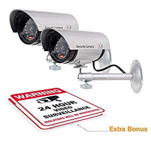 ARMO Dummy Security Camera with Realistic Look Recording LED and Large Warning Sticker (2 Pack)