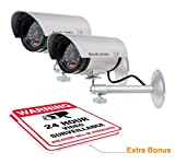 (2 Pack) Dummy Security Camera, Fake Bullet CCTV Surveillance