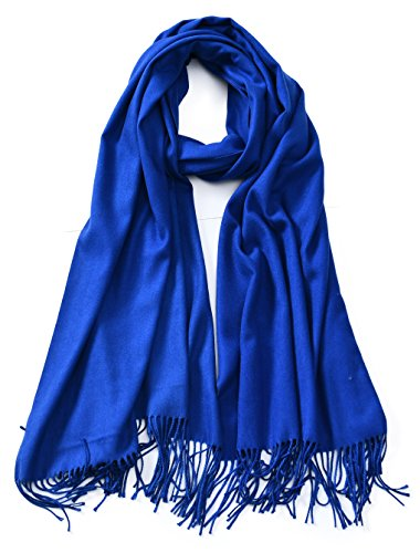 Royal Blue Wrap - Cindy & Wendy Large Soft Cashmere Feel Pashmina Solid Shawl Wrap Scarf for Women