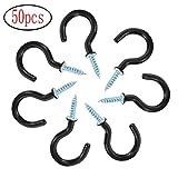 MINGZE 50pcs Cup Hook Ceiling Hooks, 1-1/4 Inches, Vinyl Coated Screw Hanger (Black)