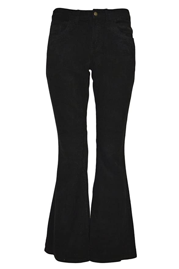 Men's Vintage Style Pants, Trousers, Jeans, Overalls Mens Run & Fly 60s 70s Vintage Retro Black Corduroy Bell Bottom Flares $26.95 AT vintagedancer.com