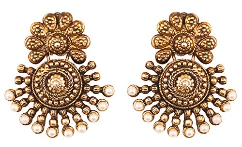 Touchstone Indian Bollywood Ancient Southern Gold Jewelry Inspired Bridal Jewelry Earrings With Faux Pearls For Women In Antique Tone And Oxidized