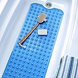 Extra Long Vinyl Bath Mat - Blue