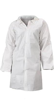 Lakeland – Micromax NS con microporos General Purpose bata de laboratorio con cierre, color blanco