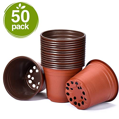 - Delxo 50 Pcs 6 Inch Plants Nursery Pots Reusable Plant Seeding Nursery Pot Waterproof Plastic Pots Seed Starting Pots