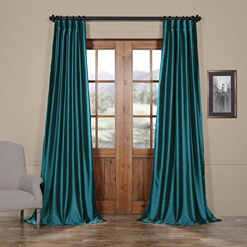 Half Price Drapes PTCH-JTSP003-84 Faux Solid Taffeta Curtain, Mediterranean