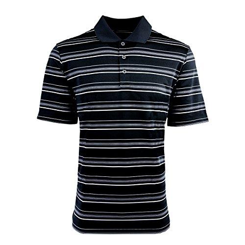 adidas Golf Mens Puremotion Textured Stripe Polo (A123) -Black/Whit -3XL