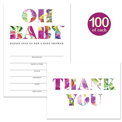 Baby Shower Invitations & Matching Thank You Notes ( 100 of Each ) Set with Envelopes, Large Celebration Event for Mom-to-Be Fill-in Guest Invites & Folded Blank Thank You Cards Best Value Pair by Digibuddha