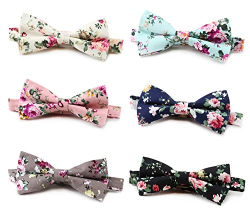 Bow Tie for Men Boys Men's Cotton Floral Bow Tie Pre-tied Neck Bowties, Pack of 6