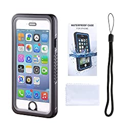 ELEOPTION Full Body iPhone Waterproof Case IP68 Underwater Shockproof Sport Case Dirtproof Cover With Touch ID SandProof Snow Proof Carrying Cover Case (For iPhone 6/ 6s 4.7 Inch, B-Black)