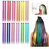 Kyerivs Colored Clip in Hair Extensions 22inch Rainbow Heat-Resistant Straight Highlight Hairpieces Cospaly Fashion Party Christmas Gift For Kids Girls 12 Color in 24 pcs