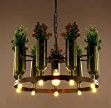 XUEXIN Modern decorative personality iron chandelier with plants and flowers for Cafe bar table lamps