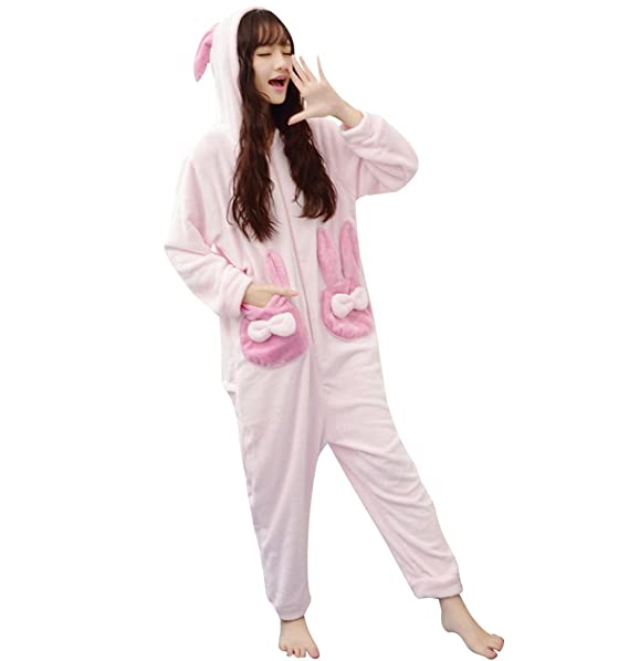 WanYang Lovely Mujeres Mangas Largas Jumpsuit Pijama Encapuchado Warm Moda Sleepwear Del Onesie Para Mujer