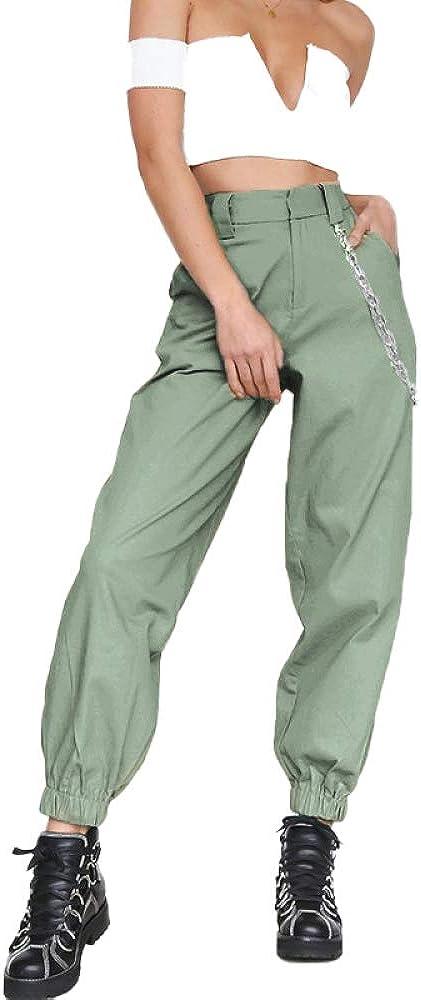 Autunno Donna Europea E Americana Moda Tinta Unita Sport Pantaloni Casual Pantaloni Harem Pantaloni Gamba Larga Pantaloni con Catena Pantaloni da Festa Quotidiana Festa