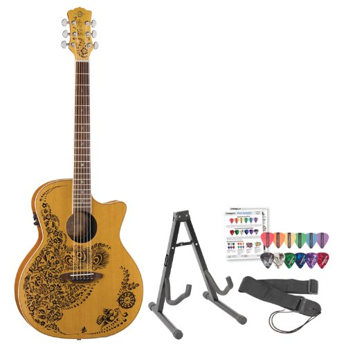 Luna Guitars HEN-P2-CDR Henna Paradise Cedar Acoustic-Electric Guitar with Stand, Strap & Pick (Luna Guitars Henna Oasis)