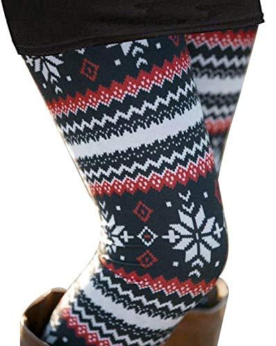 Uaderize Womens Ultra Soft Brushed Fair Isle Christmas Print Leggings Plus Size 2XL