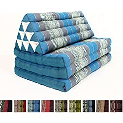 Leewadee XL Foldout Triangle Thai Cushion, 79x30x3 inches, Kapok Fabric, Blue, Premium Double Stitched