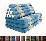 Leewadee XL Foldout Triangle Thai Cushion, 79x30x3 inches, Kapok Fabric, Blue, Premium Double Stitched Review